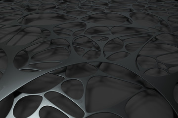 Abstract 3d voronoi organic structure on black background
