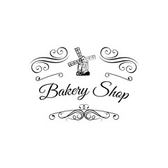 Ancient mill symbol for bakery label. Windmill Bakery Shop. filigree ornate frame.