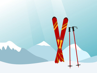 Mountain landscape, with red skiing equipment in front, vector illustration