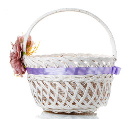 wicker basket decorated on white