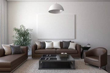 Brown leather furniture with cushions, a table, a house plant, a chandelier and a blank canvas on the wall.