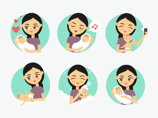 Baby care icons. Woman taking care of a newborn. How to care for the child illustration