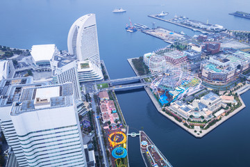 Aerial view of Yokohama city at dusk, Japan
