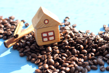 location for fans of coffee/ layout wooden house on the hill of beans