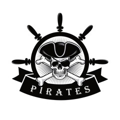 Pirate Skull With Eyepatch And Ship Helm Logo Design Vector Illustration