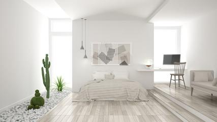 Scandinavian minimalist white bedroom with succulent garden, wooden floor and pebbles, hotel, spa, classic interior design