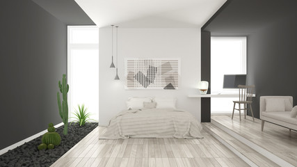 Scandinavian minimalist white and gray bedroom with succulent garden, wooden floor and pebbles, hotel, spa, classic interior design