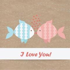 Valentine card fish