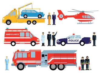 Feuerwehr, Polizei und Rettungswagen