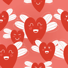 hearts with wings pattern