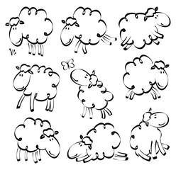 Cartoon hand drawn funny sheep