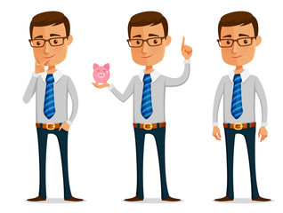 funny cartoon businessman thinking or holding a piggy bank