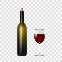 Transparent Bottle With Red Wine And Glass