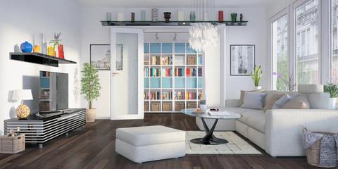 Modern eingerichtete Altbauwohnung am Prenzlauer Berg in Berlin - Wohnzimmer