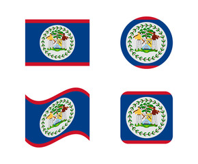 set 4 flags of belize