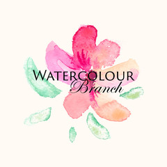 Vector watercolor logo image with pink and violet flower and green leaves.