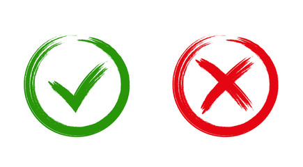 Green checkmark OK and red X icons, Wall mural