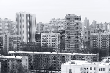 houses and skyscrapers in the city