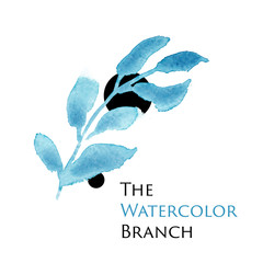 Vector watercolor logo image with blue and indigo flower. For creating a modern and fashion, trendy design of wedding invitation, fresh spring banner, floral and flower backgrounds.