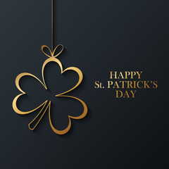 Happy Saint Patrick's Day greeting card with golden clover on black background. Vector illustration.