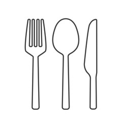Fork spoon and knife outline vector