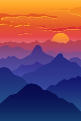 Abstract image of a sunset, the dawn sun in the mountains