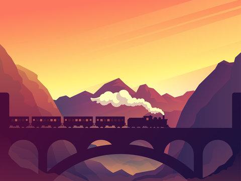 Train on railway bridge with outdoor landscape