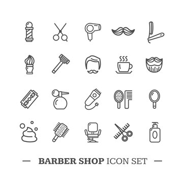 Barber Shop Icon Thin Line Set. Vector