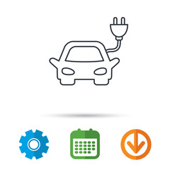Electric car icon. Hybrid auto transport sign. Calendar, cogwheel and download arrow signs. Colored flat web icons. Vector