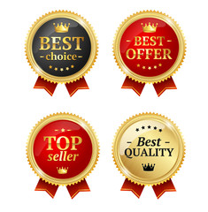 Best Offer or Choice Sale Label Medal Set. Vector