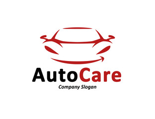 Automotive car care logo design with abstract black and red sports vehicle silhouette icon isolated on white background. Vector illustration.