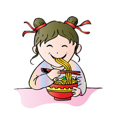 Cute chinese girl eat noodle