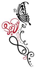 Herz mit Unendlichkeitssymbol und Schmetterling, heart with butterfly and infinity loop.