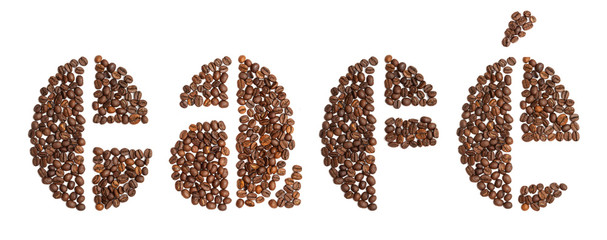 word cafe, Spanish for coffee, written in coffee beans typeface