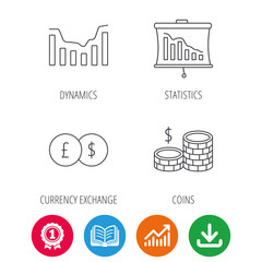 Banking, cash money and statistics icons. Dynamics, currency exchange linear signs. Award medal, growth chart and opened book web icons. Download arrow. Vector