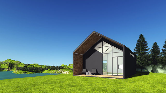 Tiny Modern House on the hill with views of the Mountains,the Lake and the Pine forest