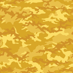 Seamless fashion woodland camouflage with yellow, gold spots vector. Military camouflage pattern. Camouflage textile. Military print. Seamless  wallpaper. Clothing style masking. Repeat print.