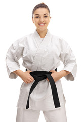 Young girl wearing a kimono with a black belt