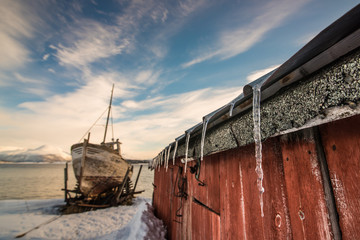 Icicles and the boat