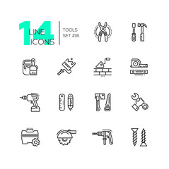 Tools - modern single line icons set