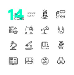 Science - modern single line icons set