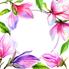 Wildflower magnolia flower frame in a watercolor style isolated.