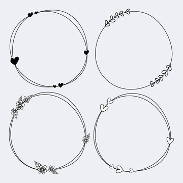 Cute set of hand drawn frames vector