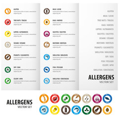 Allergens circle icons set triptych design for business