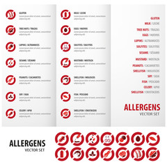 Allergens set triptych red design for business
