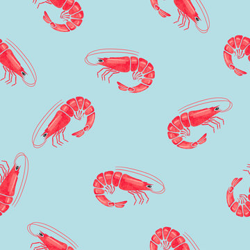 Seamless pattern with watercolor shrimps. Vector illustration.