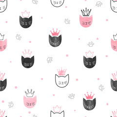 Seamless princess cats pattern. Vector watercolor background for kids design.
