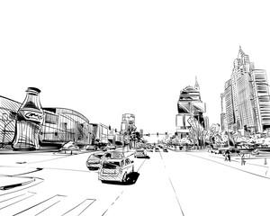 Las Vegas city hand drawn.USA. Nevada. Street sketch, vector illustration