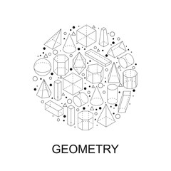 Geometry shapes. Round stamp symbol.