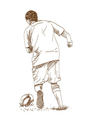 Sketch of Football player playing game in vector illustration.